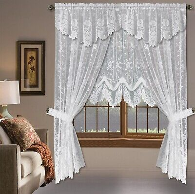 Shabby Chic Floral Lace Window Curtain PanelsBalloon Curtains Separate Valances