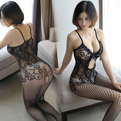 Women Sexy Lingerie Body Dress Babydoll Fishnet Bodysuit Thigh-high stockings