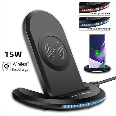 15W Qi Wireless Fast Charger Charging Stand Dock For Cell PhoneiPhoneSamsung
