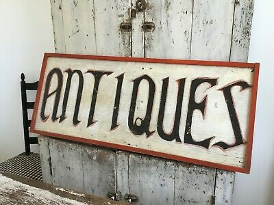 ANTIQUE AAFA WOOD PAINTED ADVERTISING TRADE ANTIQUES SIGN
