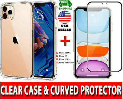 CLEAR Case - Tempered Glass SCREEN PROTECTOR For Apple iPhone 12MiniPro Max ❂✡