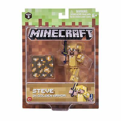Jazwares Minecraft Series 3 Steve in Gold Armor 2-5 Inch Action Figure Set