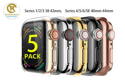 5 Pack Screen Protector Case Cover for Apple Watch 38 42 40 44mm Series 5 4 3 2