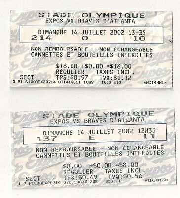 2 OLD Ticket Sun-July 14 2002Montreal Expos vs Atlanta Braves  Olympic stadium