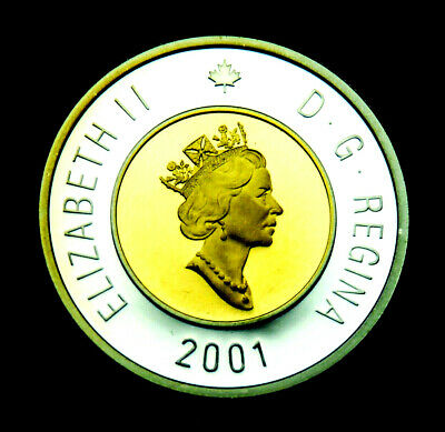 2001 $2 toonie uncirculated silver proof coin with 24K gold inlay