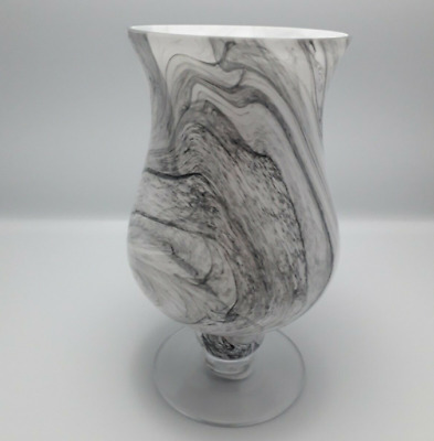Iridescent Marble Effect White And Grey Vase - 25cm   Iridescent Marble Effect