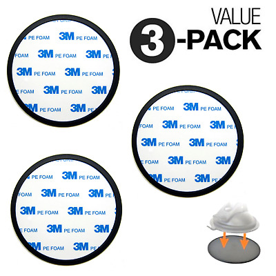 3x PACK Car Dashboard Suction Cup Mount Adhesive Base Disk For Phone GPS Stand