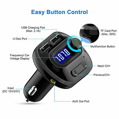 Mpow Bluetooth Car Kit Wireless FM Transmitter USB Charger Adapter MP3 Player