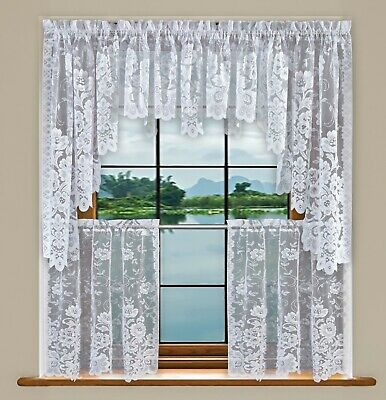 Grace Floral Lace Kitchen Curtain Tier Valance Swag Pair - Set White CreamIvory