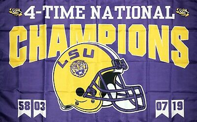 LSU Tigers 4x National Champions Flag 3x5 ft College Football Banner Man-Cave
