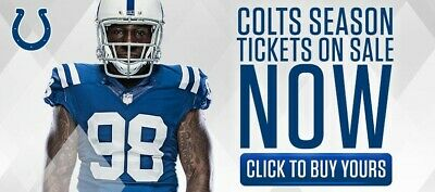 Colts 12 season tickets YOU get 5 HOME games 10 tickets  GREAT SEATS see view