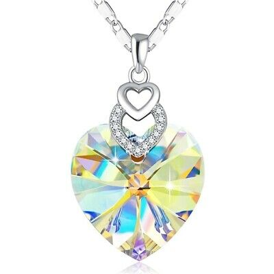 Dainty 3 Hearts Silver Crystals Pendant Necklace Jewelry MotherS Day Gift