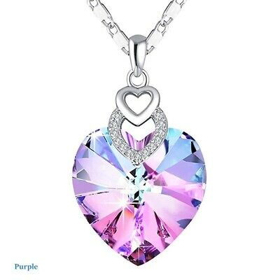 Dainty 3 Hearts Silver Pink Crystals Pendant Necklace Jewelry MotherS Day Gift