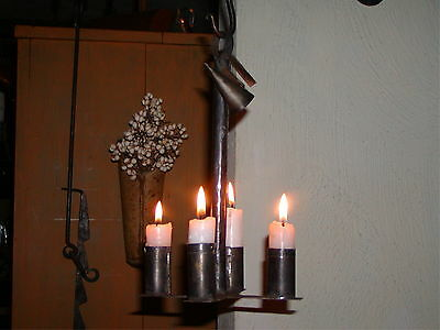 Primitive Colonial 18th  19th Century Style Hanging 4 Candle Tin Hanging Light