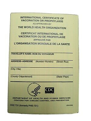 OFFICIAL International Certificate of Vaccination CDC-731 Yellow Card NEW