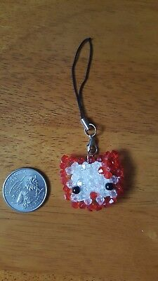 BN Beaded Red Hello Kitty charm phone strap ornament -