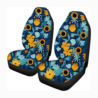 12Pcs Universal Car Front Row Seat Cover Seat Mat Flower Printed Protector