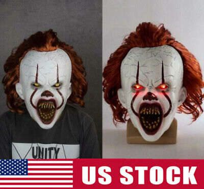 Scary Clown Pennywise Full Mask LED Mask Costume Cosplay Halloween Party