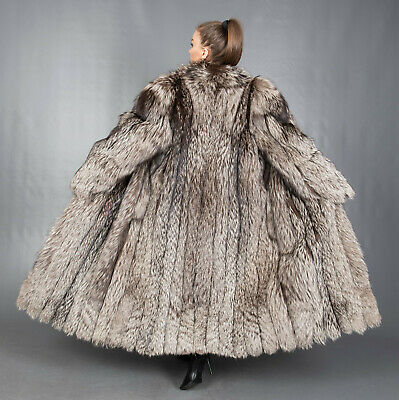 7685 GORGEOUS REAL SILVER FOX COAT LUXURY FUR EXTRA LONG BEAUTIFUL LOOK SIZE 3XL
