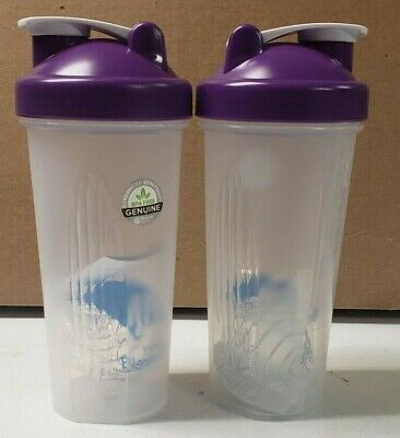 NEW Blender Bottle Blank Classic Style Shaker Mixer Cup w Purple Lid set of 2