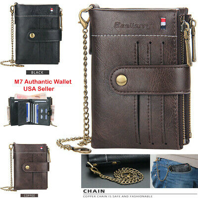 Men Mens Leather Wallet ID Sim Credit Card Holder Double Zipper Coin with Chain