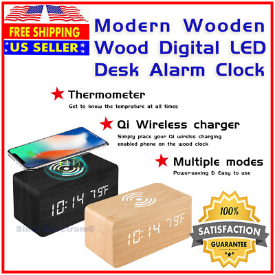 Modern Wooden Wood Digital LED Alarm Thermometer Clock w Qi Wireless Charger