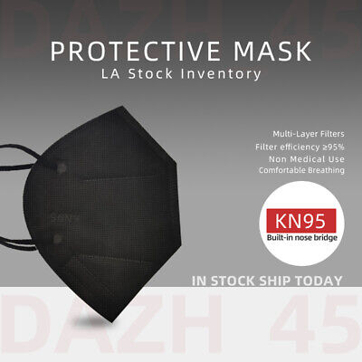 50100Pcs Black KN95 Face Mask 5 Layer BFE 95 Disposable Respirator
