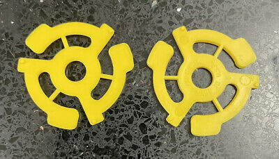 2 New Yellow 45 RPM Plastic Adapters 7 Vinyl Record 📦 FREE SHIPPING 📦