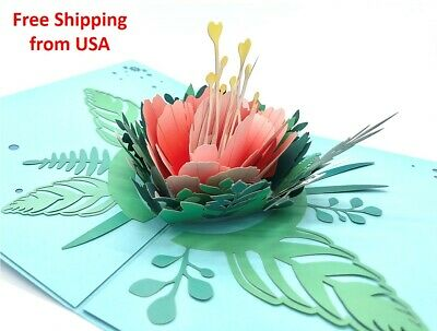 3D Pop Up Flower Peony Greeting Card Birthday Father's Day Anniversary Love