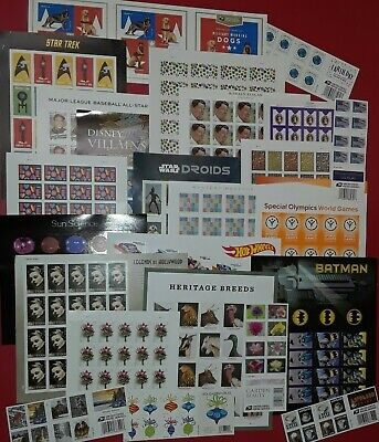 New  Unused 100 Assorted Mixed Designs FOREVER US USA Postage Stamps- FV 55-00