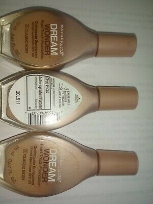 3 PACK Maybelline New York Dream Wonder Fluid-Touch Foundation Classic Ivory -67