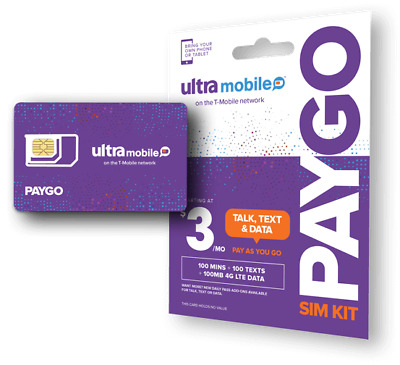 Ultra Mobile PayGo  3mo- Pay As You Go Plan - SIM Card with Talk Text - Data