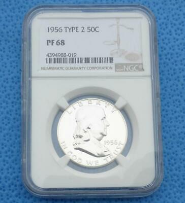 1956 NGC PF 68 Silver Franklin Half Dollar, Gem Proof 68 Silver 50-Cent Coin
