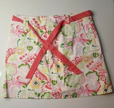 Super Cute Colorful Daisy Cotton Skort With Pink Belt Stretch White Stag Size 12