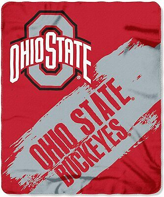 NEW Officially Licensed Ohio State Buckeyes Painted Fleece Throw Blanket 50x60