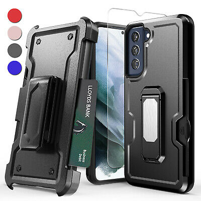 For Samsung Galaxy S21 FE Case Shockproof Belt Clip Stand Cover Tempered Glass