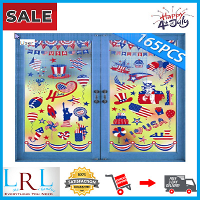 165PCS 4thFourth of July Window Clings Decorations Patriotic Red White Blue Par