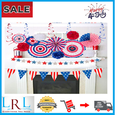 29PCS 4thFourth of July Patriotic Decorations Set - Red White Blue Paper FansU