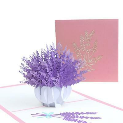 3D Pop-Up Lavender Greeting Card for Birthday Mothers Day Wedding with Envelope
