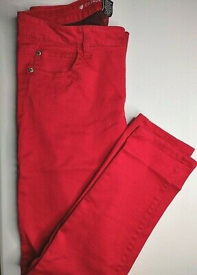 Womens Tango Red Celebrity Pink Pants Stretch Sz 11 Waist 32 Inseam 29 Mid Rise