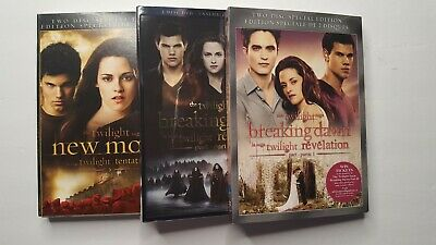 The Twilight Saga New Moon and  Breaking Dawn Part 1 and Part 2 Blu Ray DVD