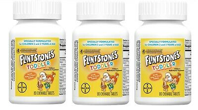 Flintstones Toddler Chewable Multivitamin by Bayer - 80 Count Pack of 3