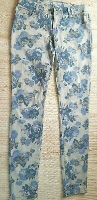 Cute Juniors Mossimo Supply Co Blue Floral Skinny Jeans Fit 6 Sz 5 W 28 Inseam 7