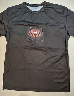 Mens Black And Red Spider Spiderman Short Sleeve T-Shirt Large Front and Back