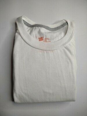 Mens Hanes Large  Short Sleeve White Tagless Undershirt Comfortable Pack Of Two