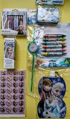 7 Pack Collection Disney Frozen Crayons  Bath Fizz Tin Stickers Water Bottle