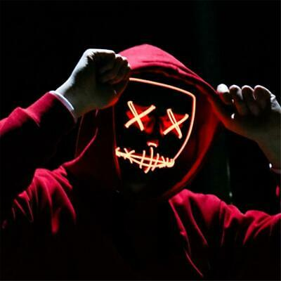 Costume Halloween Face Mask LED Light Up Red
