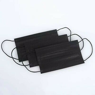 KIDS 50 Pcs Disposable Face Mask 3-Ply Non-Medical Children Mouth Cover Black
