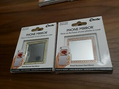 BOGO iDecoz Rose Gold Square Cell Phone Mirror with Crystals Peel and Stick