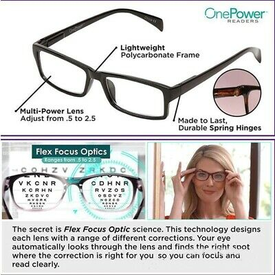 US Fashions Multifocal One Power Readers Auto Focus Reading Adjusting Glasses